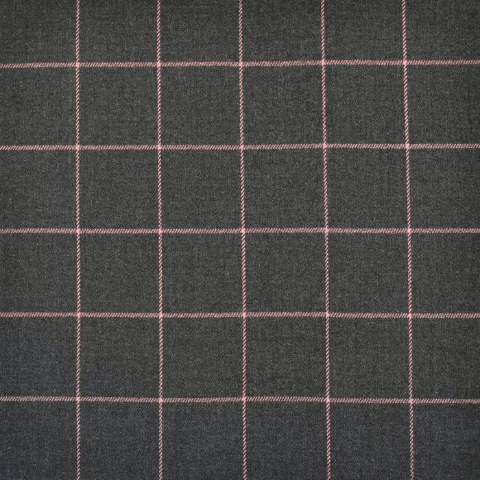 Aperçu du tissu en laine à carreaux gris et rose pâle de la collection Sérieusement Victor.